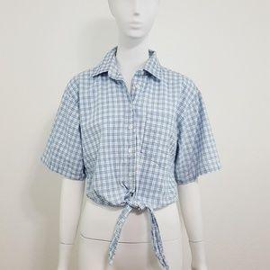 {Vintage} Gitano Blue Plaid Tie Front Cropped Top